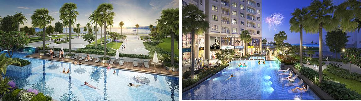Bể bơi ngoài trời tại khu dự án The Sapphire Residence Doji Hạ Long