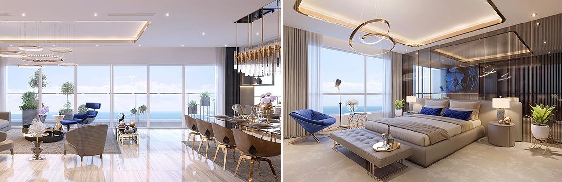 Phòng khách và phòng ngủ chung cư The Sapphire Residence Doji Hạ Long