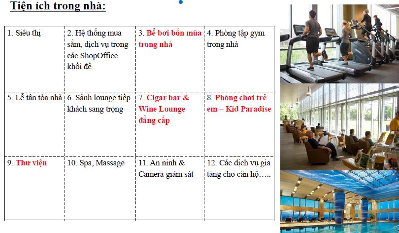 Tiện ích trong nhà Dự án căn hộ chung cư doji Hạ Long