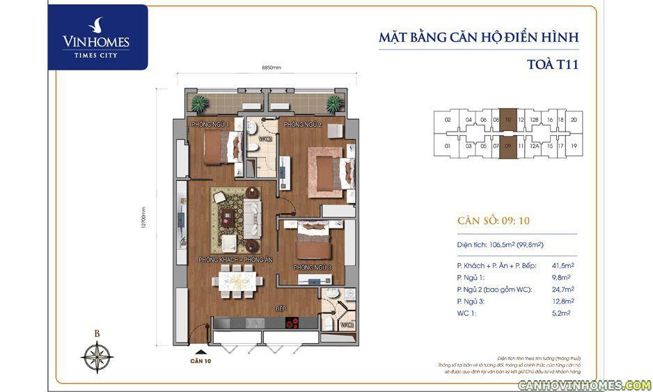 Mặt bằng căn hộ Vinhomes Times city T11 106.5m2, Chung cư vinhomes times city T11