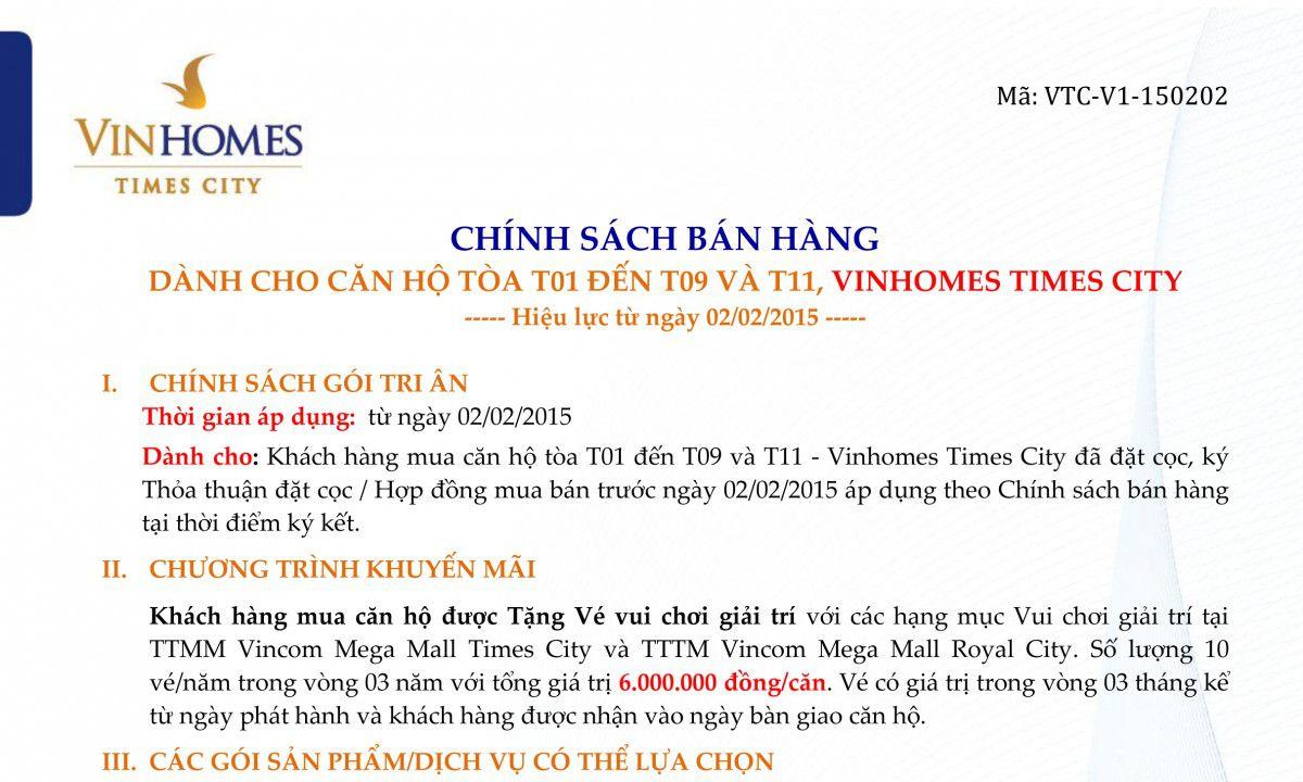 Chính sách bán hàng mới của Vinhomes Times City, Chính sách bán hàng của Vinhomes